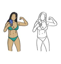 healthy woman with bikini taking selfie vector image