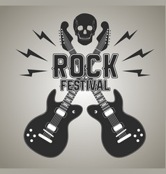 Heavy metal or rock poster with guitar and skull vector