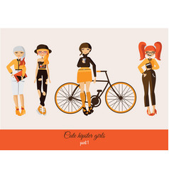 Hipster cute girls isolated on background vector