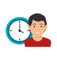 Human with clock icon vector