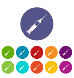 Injection syringe icons set flat vector