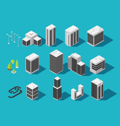 Isometric city 3d building and houses with urban vector
