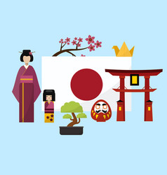 japan poster with geisha and traditional famous vector image