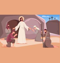 Jesus resurrection flat vector