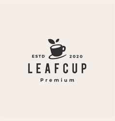 leaf cup tea herbal hipster vintage logo icon vector image