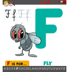 Letter f worksheet with cartoon fly vector