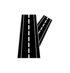 linked road glyph black icon vector image