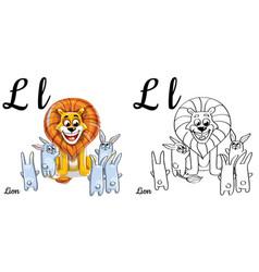 lion alphabet letter l coloring page vector image