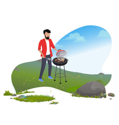 man cooking sausages on grill mountain tourism vector image