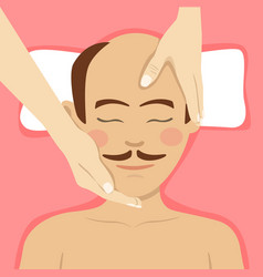 Man having head massage in spa top view vector