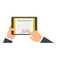 Man tablet signature icon flat style vector