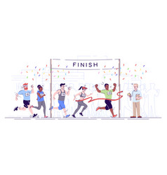 Marathon finish flat city footrace runners in vector