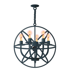massive steel chandelier with candles in medieval vector image