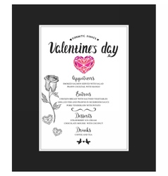 Menu template for Valentine Day dinner vector image