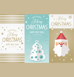 Merry christmas greeting banners vector