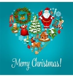 Merry Christmas greeting in heart shape vector