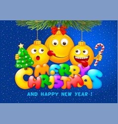 Merry christmas greeting with emoji vector