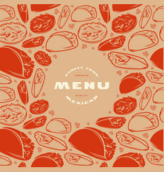 mexican menu label and frame with pattern vector image
