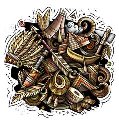 Native american cartoon doodle design vector