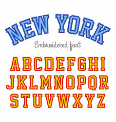 New york embroidered sport style font vector