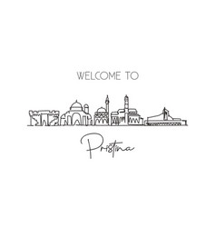 one continuous line drawing pristina city skyline vector image
