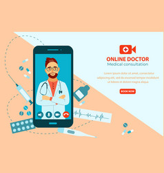 online doctor concept doctor giving medical vector image