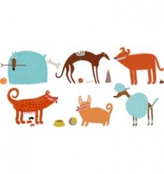orange blue vector dogs set vector image