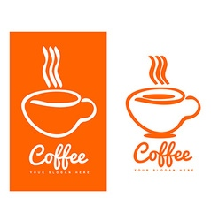 Orange coffee cup logo design vector