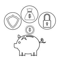 Piggy dollar coin security bag money outline vector
