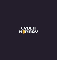 Pixel art cyber monday vector