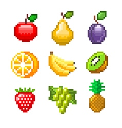 Pixel fruits for games icons set vector
