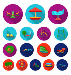 Playground entertainment flat icons in set vector