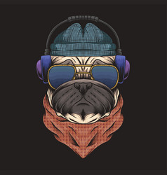 Pug dog headphone vector