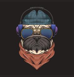 pug dog headphone vector image