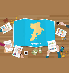 Qingdao shandong province china city region vector