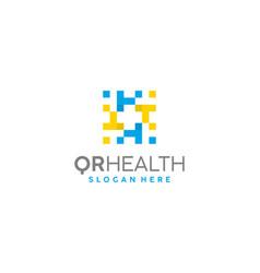 qr health logo template vector image