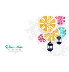 ramadan mubarak decorative lamps vector image