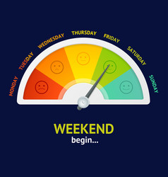 Realistic detailed 3d weekend begin counter vector