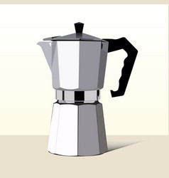 Realistic italian metalic coffee maker in vector
