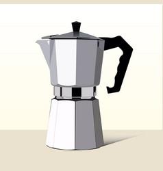 Realistic italian metallic coffee maker vector