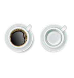 realistic top view coffee cups with saucers vector image