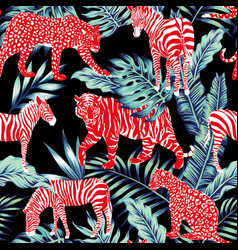 red animal blue jungle vector image