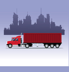 Red truck transport container urban background vector