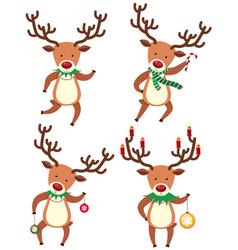 Reindeer in christmas costume vector