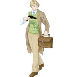Retro boy with a gun cartoon character vector image