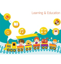 School Train Kids Text Balloon Background vector image