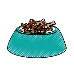 Scribble dog food in bowl vector