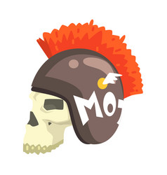 Scull in helmet with mohawk colorful sticker vector