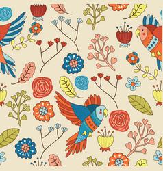 Seamless bird floral pattern wallpaper vector