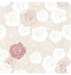 Seamless floral pattern with white and red roses vector